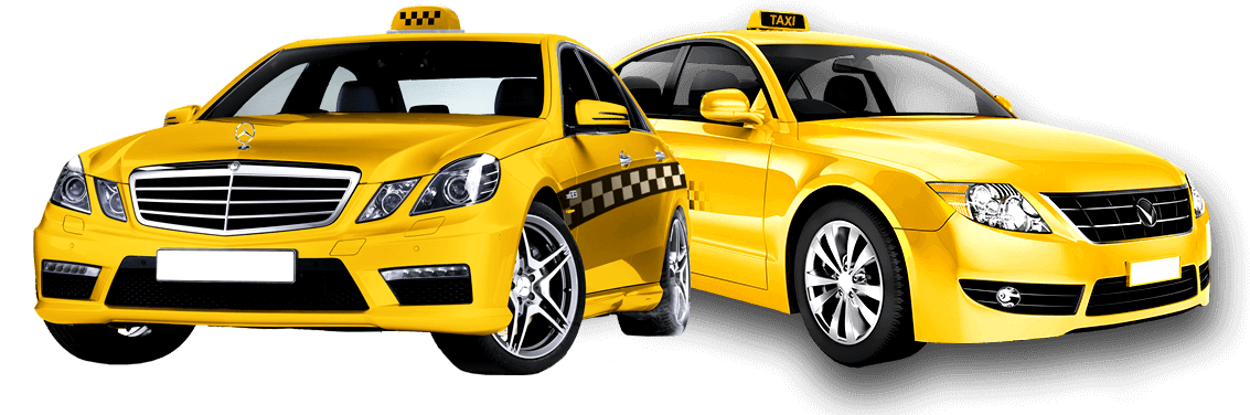 A picture of two of our yellow taxi cabs