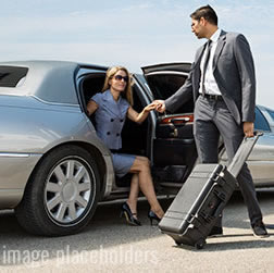 Chauffeur assiting a female client out of the car